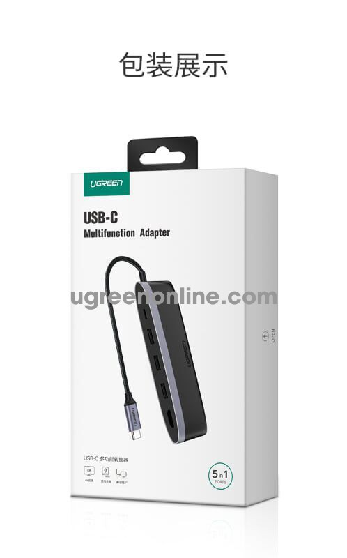Ugreen 50990 usb c to 3*usb 3.0 + hdmi + pd 5 in 1 converter cm223