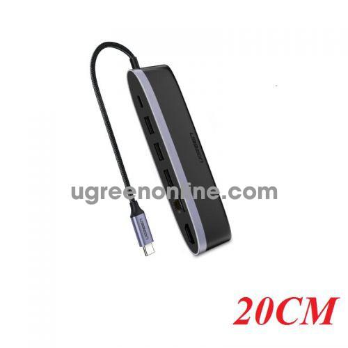 Ugreen 50989 20CM usb c to 3*usb 3.0 hdmi gigabit pd 6 in 1 converter cm222