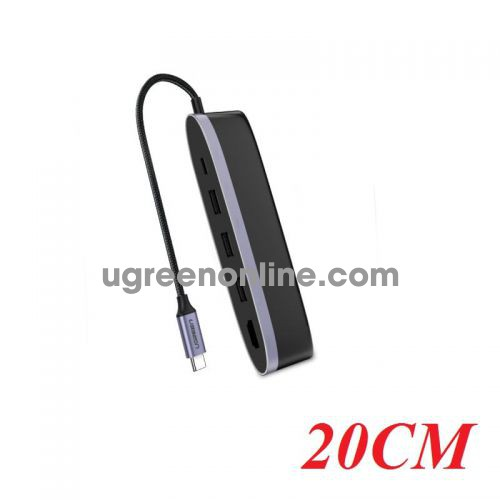 Ugreen 50990 20CM usb c to 3*usb 3.0 hdmi pd 5 in 1 converter cm223