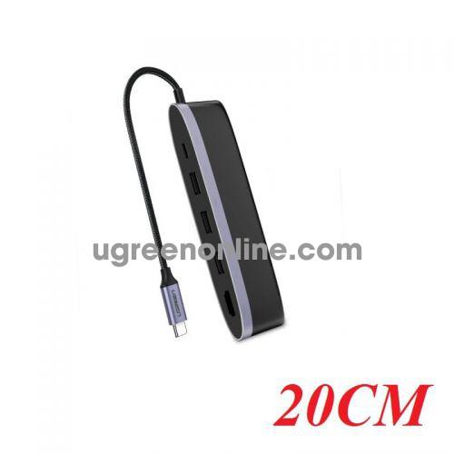 Ugreen 50990 20CM usb c to 3*usb 3.0 hdmi pd 5 in 1 converter cm223