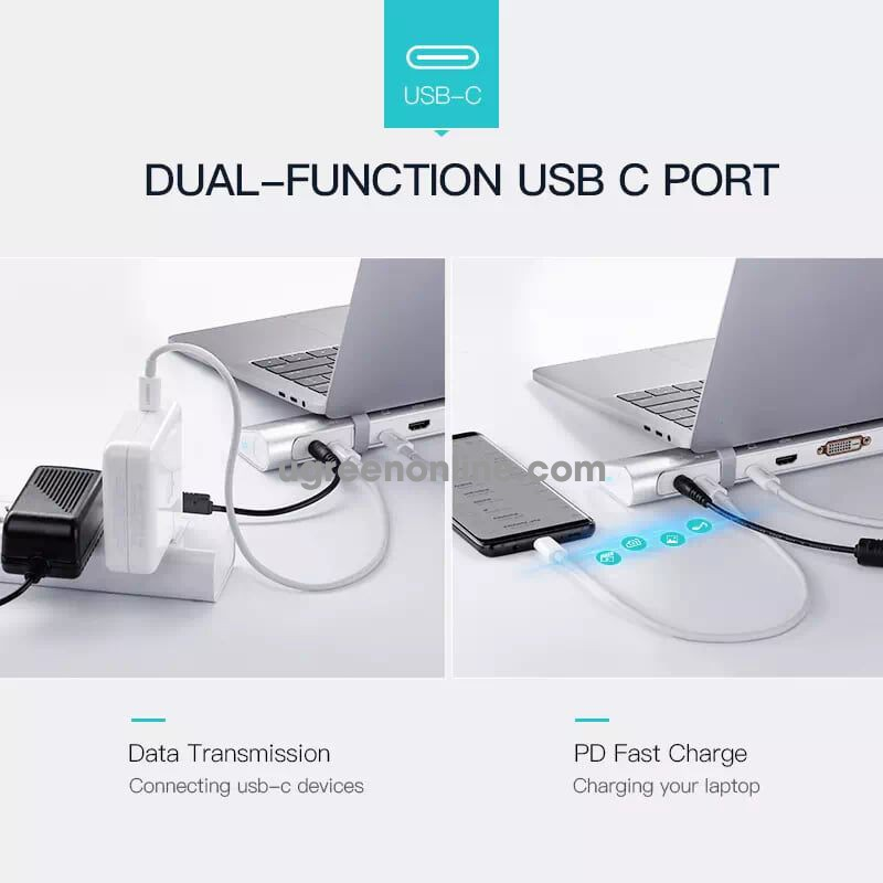 Ugreen 50844 usb c multifuntional docking station sliver eu hub type c chuyển đổi đa năng cổng 3.0 thẻ sd tf gigabit lan audio mic + tai nghe vga hdmi dvi