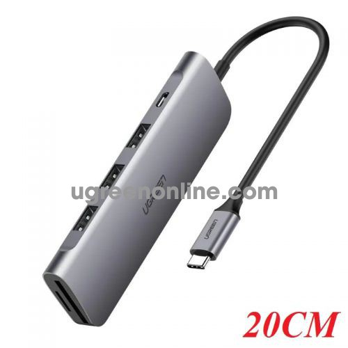 Ugreen 50850 20CM Gray USB C HUB 6 in 1 to USB 3.0 x 3 Port. TF/SD Card Reader. 5V Micro USB PD CM195 10050850