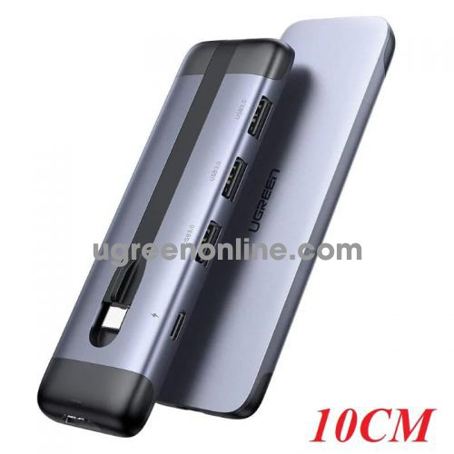 Ugreen 70408 10CM Gray USB C 5 in 1 Multifunction Adapter with 3 Port. USB 3.0 / USB C / HDMI CM285 10070408
