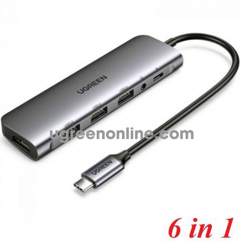 Ugreen 80132 HDMI + 3 x USB 3.0 A + AUX 3.5mm + PD Power Converter 6 in 1 USB TYPE C CM136 10080132