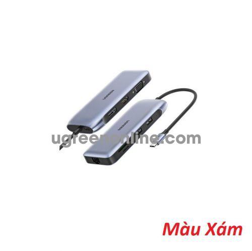 Ugreen 70301 USB C To 2*USB 3.0 A + HDMI + VGA + DP + RJ45 Gigabit + SD TF + PD Converter Gray with PD CM274 10070301