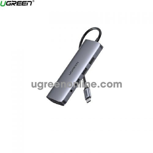 Ugreen 80133 10 IN 1 Grey type C To 3 x usb A 3.0 + HDMI + VGA + RJ45 Gigabit + SD - TF + AUX 3.5mm + 65w PD Power CM179 10080133