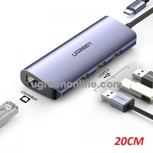 Ugreen 60717 USB type c To 3 x USB 3.0 A HUB + Gigabit Converter Gray CM252 10060717