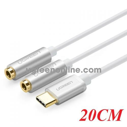 Ugreen 30732 20CM silver usb type c male to 3.5mm female *2 cable av144