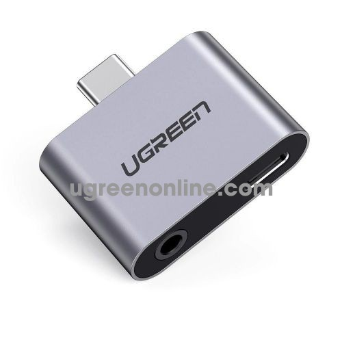 Ugreen 70312 2-in-1 Space gray USB type C to 3.5mm audio Adapter and C charger support PD CM193 10070312