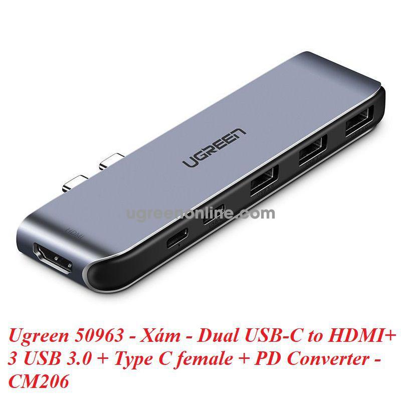 Ugreen 50963 dual usb c to hdmi + 3 usb 3.0 + type c female + pd converter xám cm206