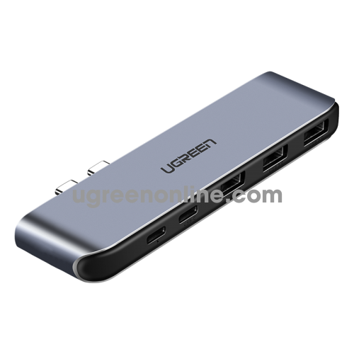 Ugreen 50775 dual usb c to 3*usb 3.0 usb c female pd converter xám cm206