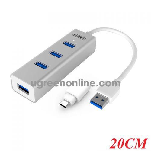 Unitek Y-3082 20CM Hub Usb 3.0 4 Ports + Đđ Type-C - 96686 10096686