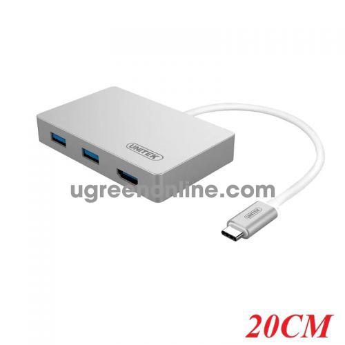 Unitek Y-3707 20CM Hub Usb 3.0 2 Ports +Hdmi Type-C - 95394 10095394