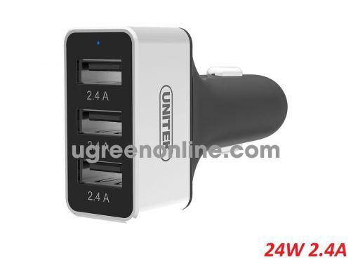 Unitek 26888 Y-P539C 24W 3 cổng USB 2.4A Củ Sạc trên xe hơi Màu Trắng 10026888