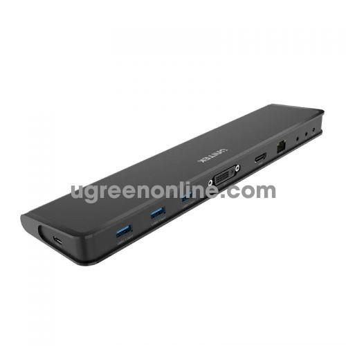 Unitek 29646 D001A USB Type-C ra 3 x USB 3.0 + DVI + HDMI + Audio + LAN + Type-C Bộ chia Hub 10029646