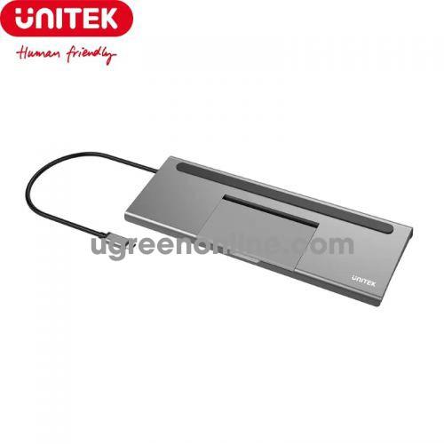 Unitek 25940 D1022A USB Type-C ra 2 x USB 3.0 2 x USB 2.0 HDMI Displayport VGA + Audio LAN SD TF Bộ chia Hub 10025940