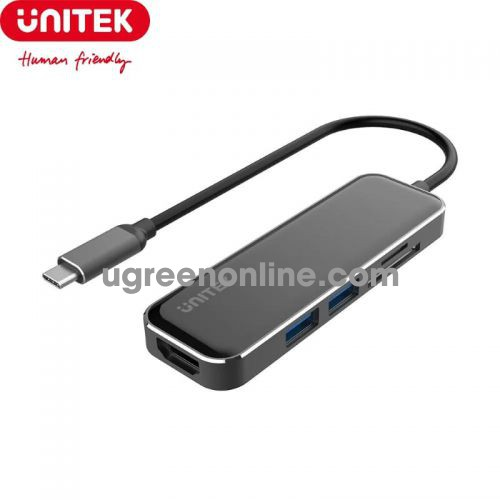 Unitek 27604 D1036A 15cm USB Type-C ra 2 USB 3.1 + HDMI + TF - SD Bộ chia Hub Màu Đen 10027604