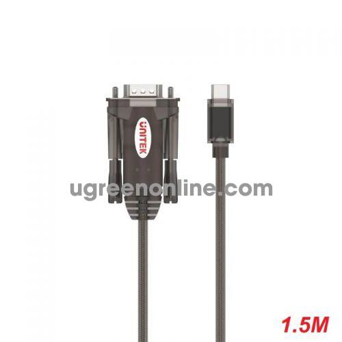 Unitek 25484 Y-1105K 1.5M USB Type-C ra RS 232 Com 9 Cáp chuyển đổi Màu Đen 10025484