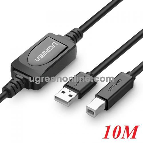 Ugreen 10374 10m usb 2.0 a male to b male active printer cable đen us122