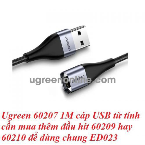 Ugreen 60207 1M Magnetic Charge & Sync Braid Cable black fit with 60209 or 60210 ED023 10060207