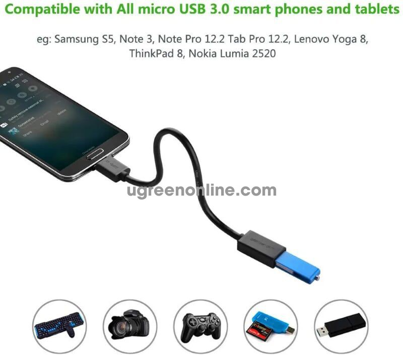 Ugreen 10802 Micro usb 3.0 otg cable for samsung note 3 s4 s5 white US127