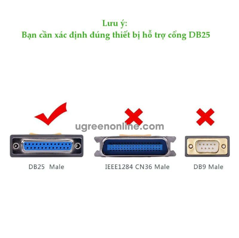 Ugreen 20793 1m usb to db25 parallel printer cable 20224