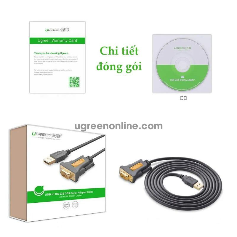 Ugreen 20222 2m usb to db9 rs 232 cablechipset pl2303ta cr104
