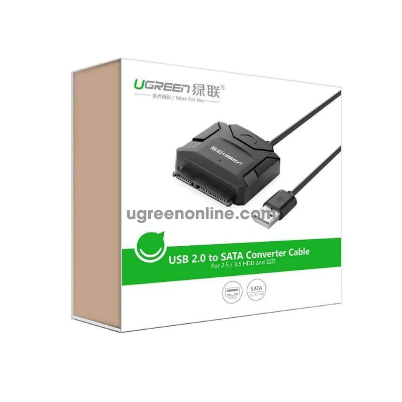 Ugreen 20215 0.25m usb 2.0 to sata hard driver converter cableincluded 12v 2apower adapter 25cm cr108