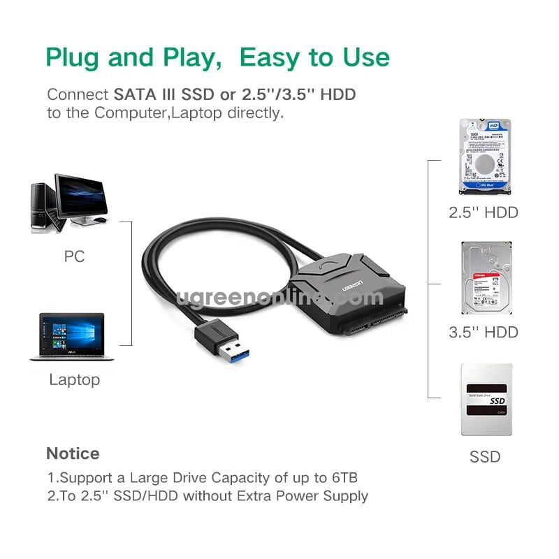 Ugreen 20231 0.25m usb 3.0 to sata adapter cable 25cm cr108