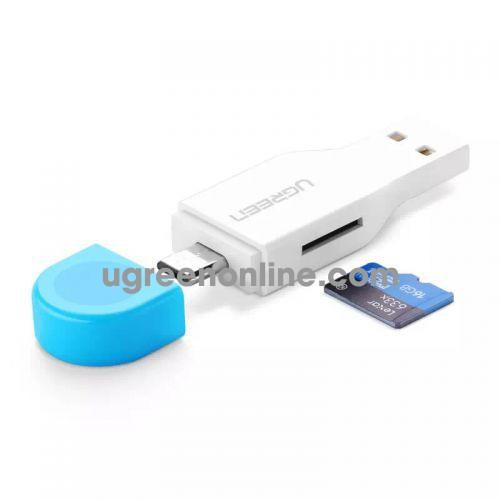 Ugreen 30358 otg usb dual port card reader white 30358