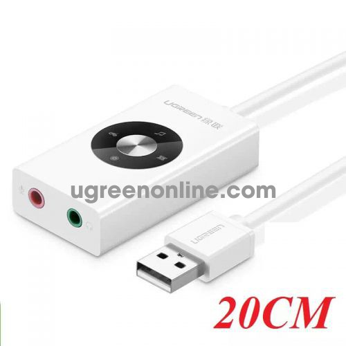Ugreen 30448 white color usb 2.0 external stereo sound adapter 30448