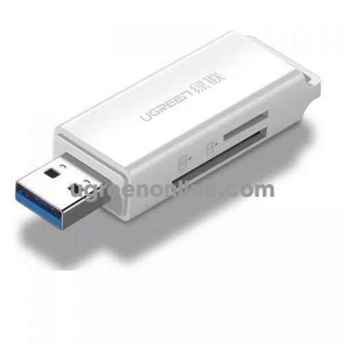 Ugreen 40753 usb 3.0 to tf + sd card readerdual card dual read white cm104