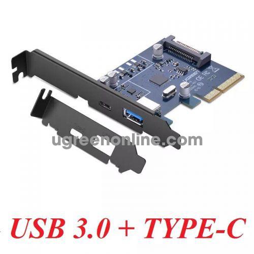 Ugreen 30774 pci e to 1 x usb a female + 1 x type c converter card us230