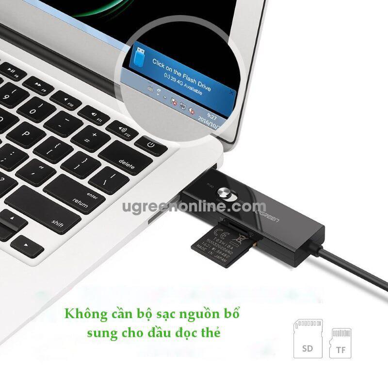 Ugreen 30518 30cm dây micro usb sang usb 2.0 hỗ trợ 3 chức năng trong 1 đọc thẻ sd tf sạc và truyền dữ liệu otg