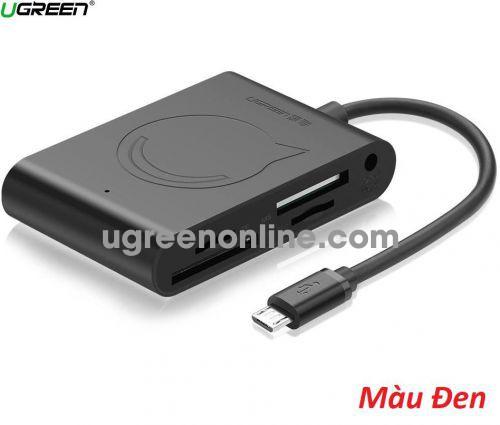 Ugreen 50414 15CM Black Micro USB OTG Card Reader USB2.0 OTG Hub 3 Ports Adapter Connector for SD SDHC MINI SD MICRO SD MICRO SDHC T FLASH MS M2 50414 10050414