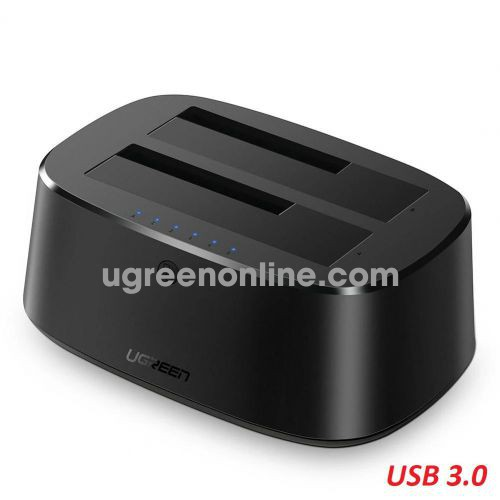 Ugreen 50856 USB 3.0 to Sata Dual Bay Hard Drive Docking Station UK power black CM198 10050856
