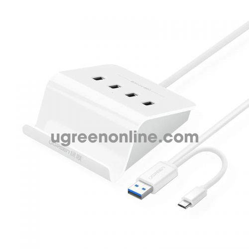 Ugreen 20280 4 ports usb 3.0 hub with micro OTG cradle with 5v2a power adapter trắng cr109 10020280