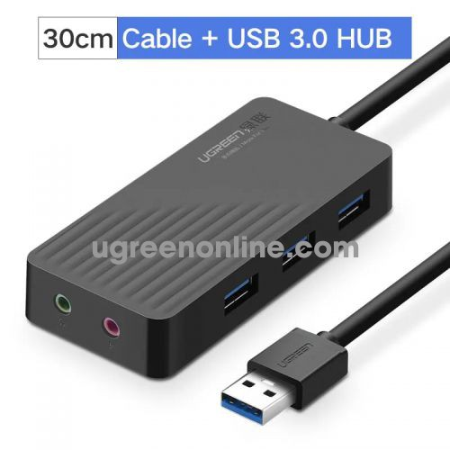 Ugreen 30420 30cm màu đen 3 port usb 3.0 hub with external stereo sound adapter cr133