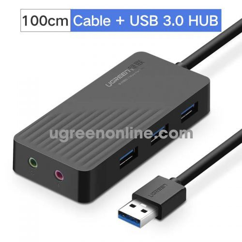 Ugreen 30421 1m 3 port usb 3.0 hub with external stereo sound adaptermàu đen cr133