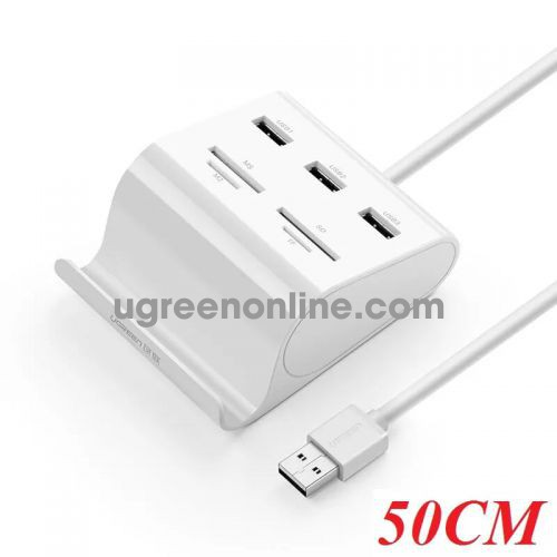 Ugreen 30339 0.5m usb 2.0 3 ports hub + card reader with cradle màu trắng