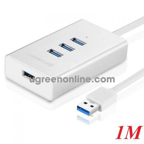 Ugreen 30235 1m usb 3.0 4 ports hub aluminum case white cr126