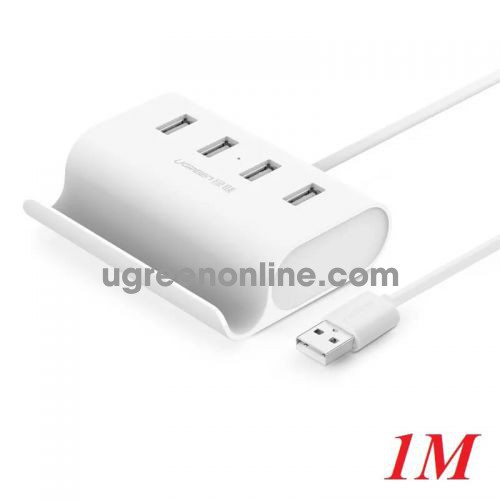 Ugreen 30224 1M White USB 2.0 Hub 4 Port With Power Port CR123 10030224