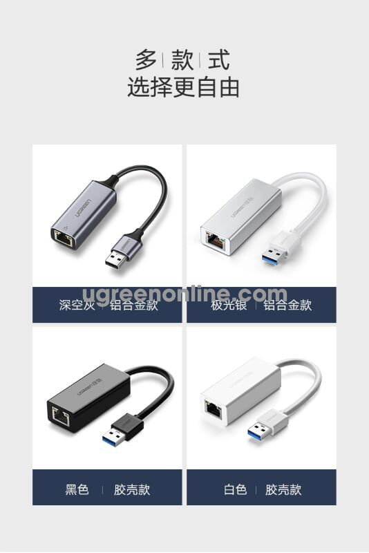 Ugreen 50922 10CM USB 3.0 Gigabit Ethernet Adapter Xám CM209